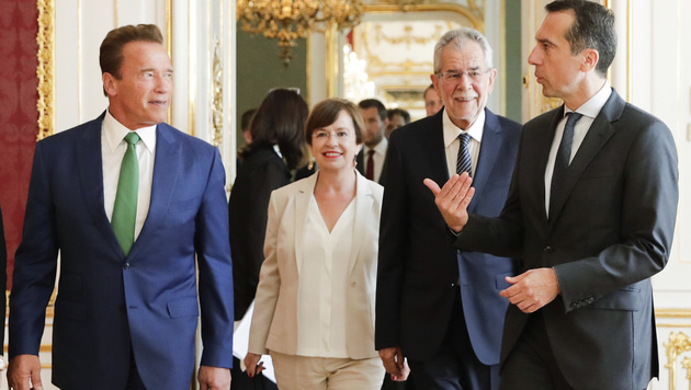 Arnold Schwarzenegger, Doris Schmidauer, Bundespräsident Van der Bellen und Kanzler Kern (v.l.n.r.) (Bild: APA/BKA/ANDY WENZEL)