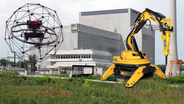 Zwentendorf: Roboter bergen radioaktive Stoffe (Bild: flickr.com/zuerichsee, Flyability, Brokk, krone.at-Grafik)