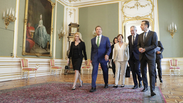 Schwarzeneggers Freundin, Heather Milligan, Arnie, Doris Schmidauer, Van der Bellen und Kern (Bild: APA/BKA/ANDY WENZEL)