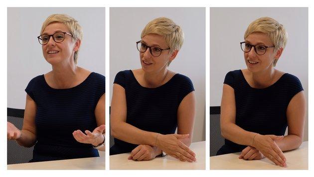 """Die neue Wirtschaftskammer-Präsidentin Oberösterreichs Doris Hummer (43) beim """"Krone""""-Interview. (Bild: Chris Koller)"""