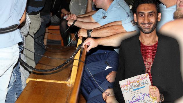 Der Hauptangeklagte grinste breit, als er in den Gerichtssaal geführt wurde. (Bild: krone.at)
