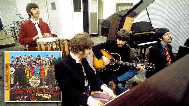 Die Beatles bei Aufnahmen in den Abbey Road Studios (Bild: Apple Corps Ltd., Universal Music, krone.at-Grafik)