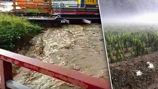 Überflutungen in Kärnten (li.) und Hagelunwetter in der Steiermark (re.) (Bild: facebook.com, ÖHV)