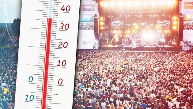Wetterprognose: Bis zu 36 Grad am Donauinselfest (Bild: Andreas Wieser, thinkstockphotos.de, krone.at-Grafik)