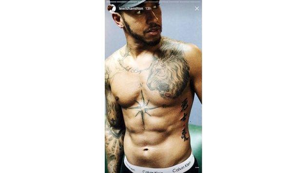 Lewis Hamilton zeigt auf Instagram seinen coolen Body. (Bild: www.PPS.at)