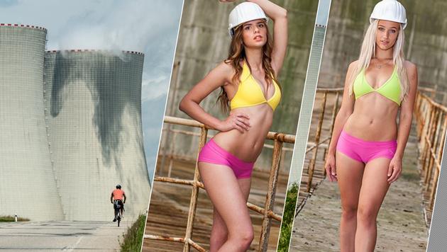 AKW Temelin suchte Praktikantin im Bikini (Bild: dpa/Armin Weigel; Infocentrum JE Temelín)