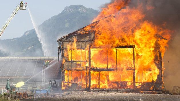Der Bauernhof in Vorarlberg wurde ein Raub der Flammen. (Bild: Mathis Fotografie)
