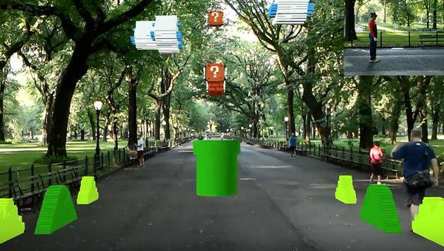 "HoloLens bringt ""Super Mario Bros."" nach New York (Bild: youtube.com/Abhishek Singh)"