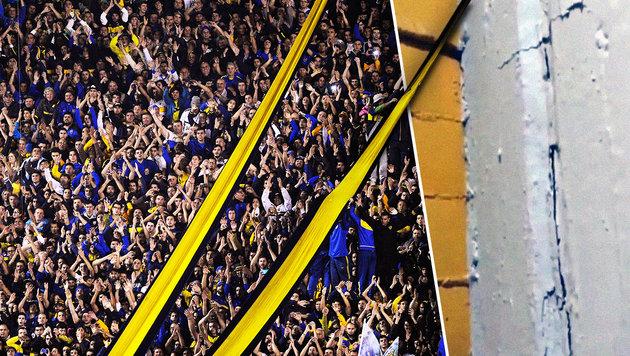 Risse in der Mauer: Hier wackelt das Boca-Stadion (Bild: AFP, YouTube.com)