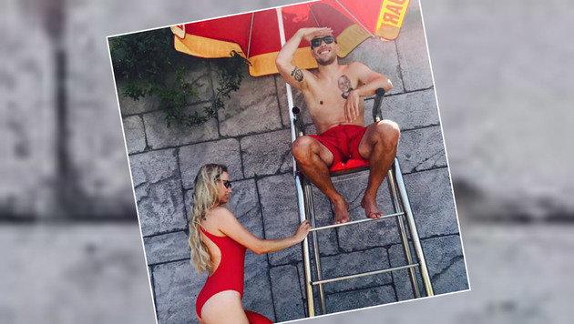Macht sich auch als Bademeister gut: Lukas Podolski im Baywatch-Style. (Bild: Instagram)