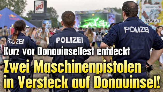 Zwei Maschinenpistolen in Versteck auf Donauinsel! (Bild: APA/HERBERT NEUBAUER)