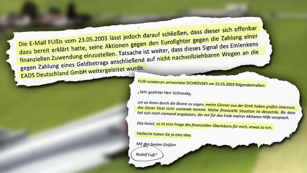 """""""Fuzzibalds"""" Bettelmail im Eurofighter-Strafakt (Bild: """"Krone"""")"""