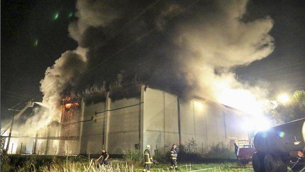 Die Rauchsäule von der Halle war kilometerweit zu sehen. (Bild: Markus Tschepp)