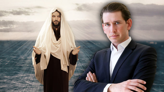 """Messias"" Sebastian Kurz - und seine ""neue"" ÖVP (Bild: AP, thinkstockphotos.de, krone.at-Grafik)"