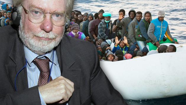 Migrationsexperte Sir Paul Collier fordert die Schließung der Mittelmeerroute. (Bild: AP, AFP, krone.at-Grafik)