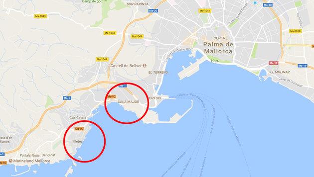 Verletzt: Mallorca-Hai an Strand eingeschläfert (Bild: maps.google.com)