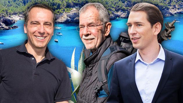 So urlauben unsere Politiker in diesem Sommer (Bild: Alexander Müller, APA, thinkstockphotos.de, krone.at-Grafik)