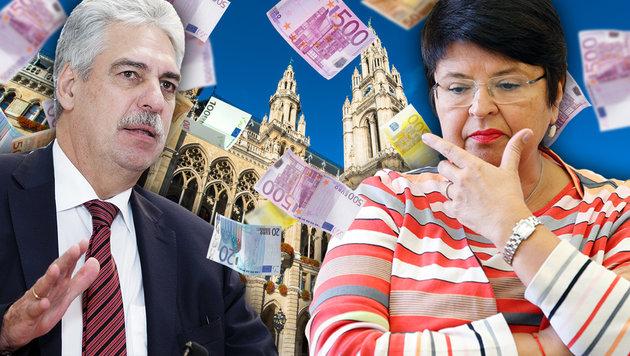 Wiens Schulden: Schelling bietet Nachhilfe an (Bild: Reinhard Holl, APA, thinkstockphotos.de, Krone.at-Grafik)