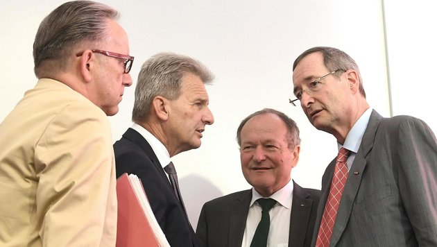 AK-Präsident Kaske, ÖGB-Präsident Foglar, Landwirtschaftskammerpräsident Schultes, WKÖ-Chef Leitl (Bild: APA/HELMUT FOHRINGER)