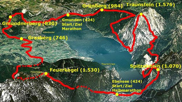 """Ein Lauf der Extreme: Der Bergmarathon rund um den Traunsee führt die Teilnehmer über sechs Berge. (Bild: """"Krone"""")"""
