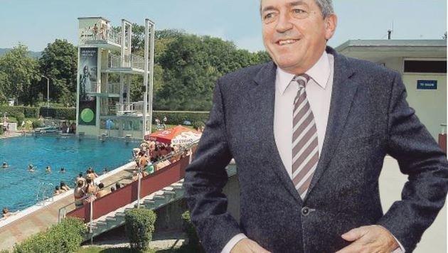 Das bewegt Salzburg! Bürgermeister Schaden setzte unkompliziert einen Öffi-Anschluss zum Freibad um. (Bild: Andreas Tröster)