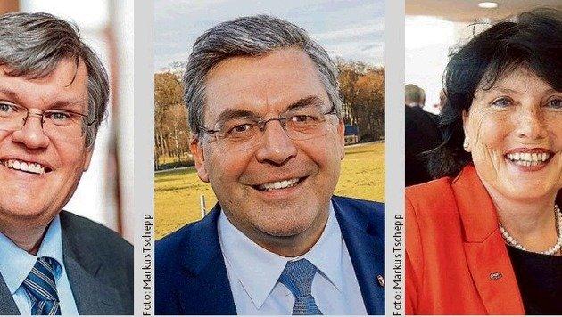 Auch angesehen: LAbg. Essl (FPS/li.), Regierungsmitglied ist Schwaiger (Mi.) & Hirschbichler (re.). (Bild: Markus Tschepp (2), EXPA/JFK)