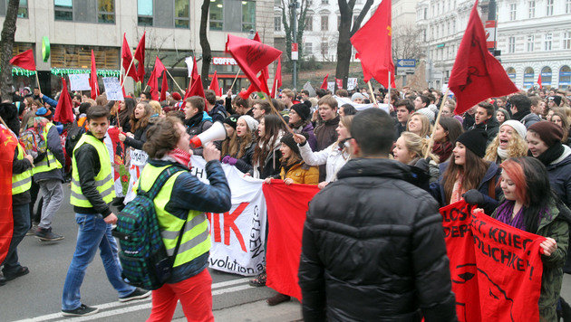 Demonstranten am Ring (Bild: Andi Schiel)
