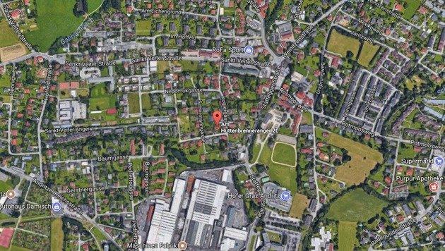 Die verletzte Frau wurde an der Adresse am Hüttenbrenneranger 20 entdeckt. (Bild: Screenshot maps.google.com)