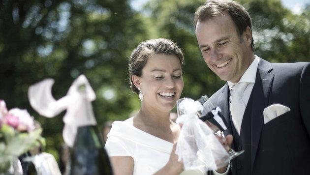Der Linzer F1-Experter Ernst Hausleitner heiratete seine Nina im Schloss Mirabell in Salzburg. (Bild: Peter Baier)