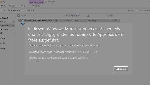 Wer auf Windows 10 S ein Programm per Installer aufspielen will, sieht diese Fehlermeldung. (Bild: Domnik Erlinger)
