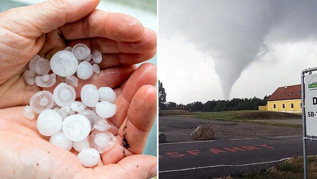 Hagel, Regen und ein Tornado: Unwetter im Osten (Bild: APA/GEORG HOCHMUTH, Screenshot facebook.com)