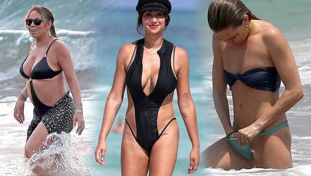 Beach-Desaster: Mariah Carey (l.), Jackie Cruz (Mitte) und Sienna Miller (r.) (Bild: www.pps.at)