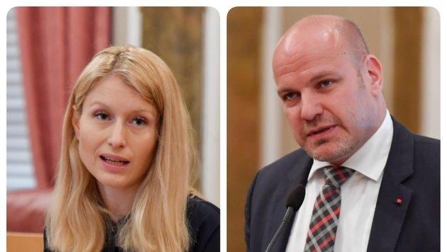 Christine Haberlander (ÖVP) und Peter Binder (SPÖ)in der Fragestunde im OÖ Landtag. (Bild: Harald Dostal)