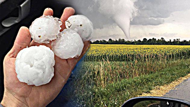 Hagel, Regen und ein Tornado: Unwetter im Osten (Bild: facebook.com, APA/PRIVAT)
