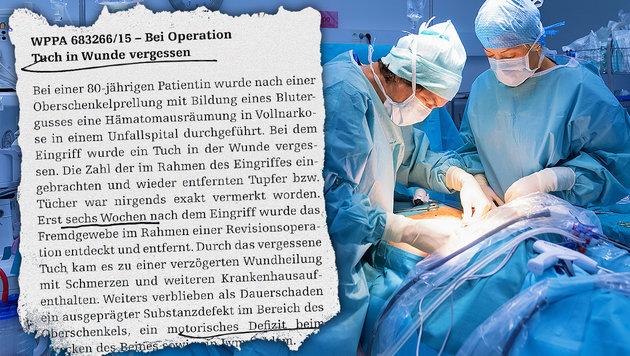 Tuch in Wunde und Nadel in Wirbelsäule vergessen (Bild: WPPA, thinkstockphotos.de)