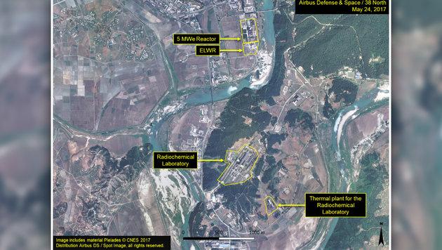 Nordkorea: Besorgniserregende Wärmebild-Aufnahmen (Bild: CNES 2017/Airbus DS/Spot Image, krone.at-Grafik)