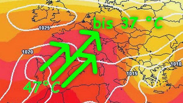 Ab Montag kommt die Spanienhitze auch zu uns (Bild: wetter.net)