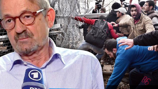 Der Direktor des italienischen Flüchtlingsrats, Christopher Hein (Bild: AFP, Twitter.com/tagesschau, krone.tv-Grafik)
