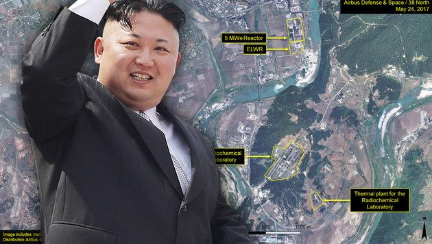 Nordkorea: Besorgniserregende Wärmebild-Aufnahmen (Bild: AP, CNES 2017/Airbus DS/Spot Image, krone.at-Grafik)