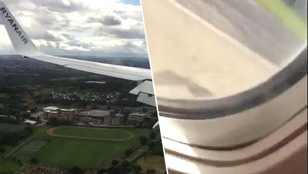 Harte Ryanair-Landung: Fluggäste schreien in Panik (Bild: YouTube.com, krone.at-Grafik)