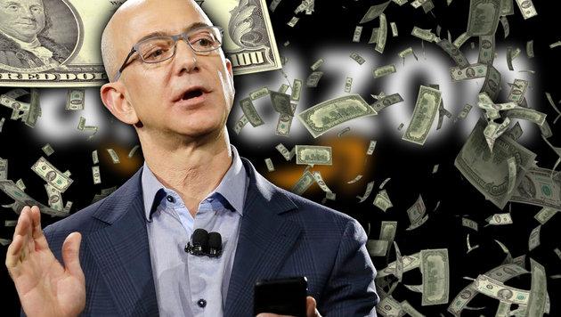 Amazon-Chef verdient pro Tag 133 Millionen Dollar (Bild: AP, thinkstockphotos.de, krone.at-Grafik)
