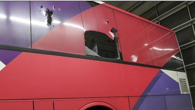 Die eingeschlagene Postbus-Scheibe. (Bild: Markus Tschepp)