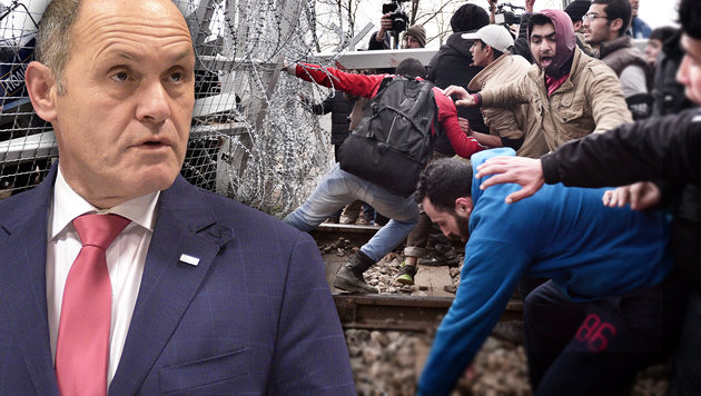 """Sobotka stellt klar: """"Wir lassen uns nicht drohen"""" (Bild: APA/HANS PUNZ, AFP, krone.at-Grafik)"""