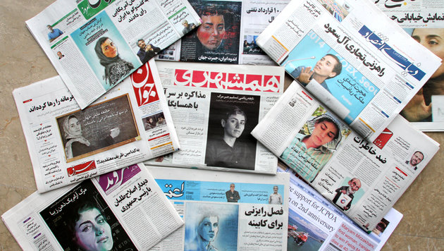 Iranische Zeitungen widmeten ihre Titelblätter der Ausnahme-Frau. (Bild: AFP)