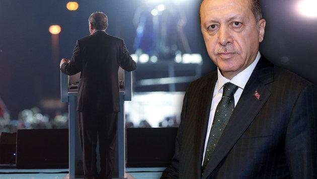 """Erdogan: """"Werden Verrätern die Köpfe abreißen"""" (Bild: Presidency Press Service, AFP, krone.at-Grafik)"""