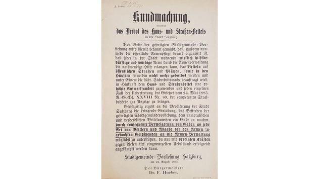 Bettelverbot aus dem Jahr 1893: Damals gab es keinen VfGH (Bild: Krone)