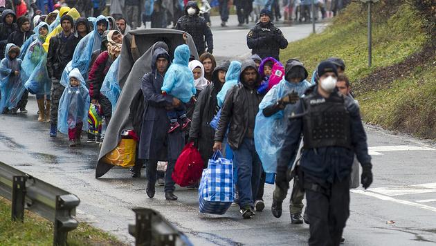 Flüchtlinge auf dem Weg nach Spielfeld im November 2015 (Bild: APA/Erwin Scheriau (Archivbild))