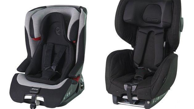Diese zwei Kindersitze sind ein Sicherheitsrisiko: (v.l.n.r.) Jané Grand und Recaro Optia. (Bild: ADAC)