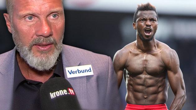"""Fink: """"Werden Kayode sicher nicht herschenken!"""" (Bild: krone.tv, GEPA, krone.at-Grafik)"""