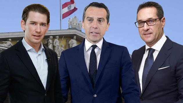Sebastian Kurz (ÖVP), Christian Kern (SPÖ), Heinz-Christian Strache (FPÖ) (Bild: APA, krone.at-Grafik)